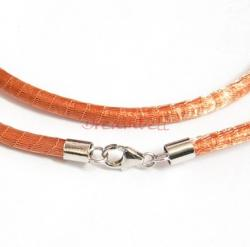 1x Sterling Silver Fluorescence Orange Brass Mesh 3mm choker leather cord necklace for European Bead  Charm 45cm 17.7""