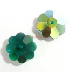 4x Swarovski Elements Crystal 3700 Margarita Beads Emerald AB 12mm