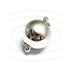 Rhodium Silver  Plated 1 strand Stardust Round Ball Magnetic Clasp 8mm