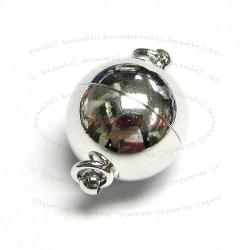 Rhodium Silver  Plated 1 strand Round Ball Magnetic Clasp 10mm