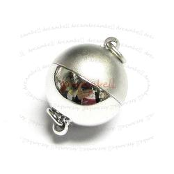Rhodium Silver Plated 1 strand Round Stardust Ball Magnetic Clasp 10mm