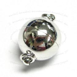 Rhodium Silver Plated 1 strand Round Ball Magnetic Clasp 12mm