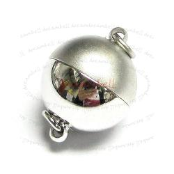 Rhodium Silver Plated 1 strand Stardust Round Ball Magnetic Clasp 12mm