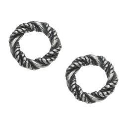 2x Bali Sterling Silver Twist Closed Jump Ring 9.5mm  Heavy for European Charm Bracelets