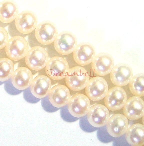 ~85x Fresh Water Pearl Round Potato Cream White 5.5mm