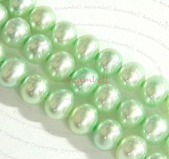 "16"" Fresh Water Pearl Potato Light Green 5.5mm"