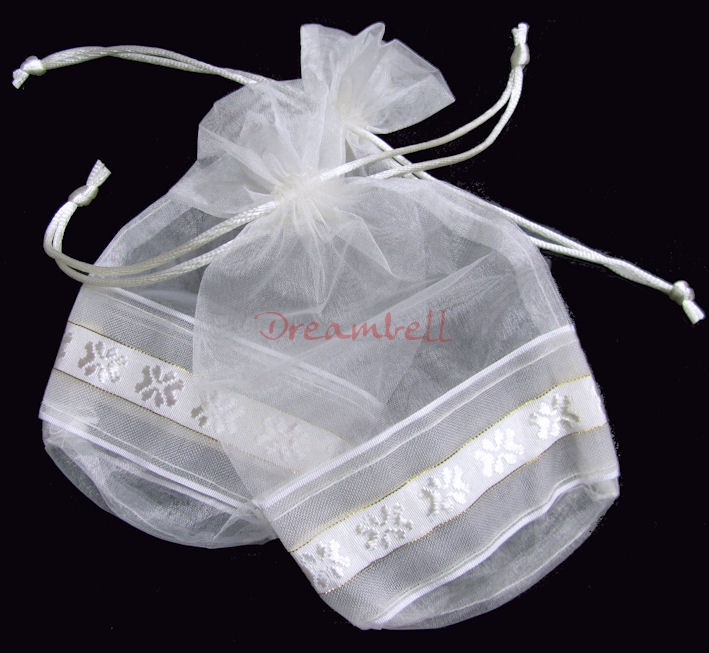 4x Organza White FLOWER Jewellery GIFT BAGS Pouches 7""