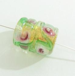 2x Garden Rose Romance Lampwork Glass bead Gold 15mm