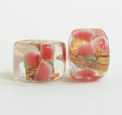 4x Encased Red Golden Pink Flower Garden Lampwork Beads