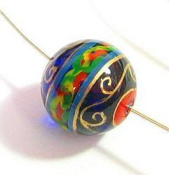 1x Handprint glass bead Gold Blue Round Focal Bead 15.5mm