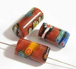 2x Murano Flower Lampwork Glass ROUND CYLINDER bead Gold stone 8x15mm
