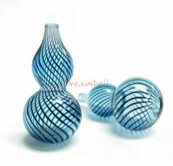 1x Lampwork Dichroic Blown Glass GOURD SWIRL Bead AQUAMARINE  40mm