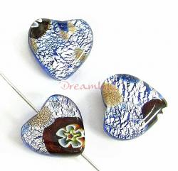 2x Fused Murano Flower Lampwork FOIL GLASS HEART bead Gold stone 12mm