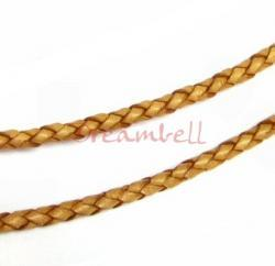 1 yard  Natural Braided  Leather BEAD STRINGING CORD 3mm Light Brown (Natural Beige)