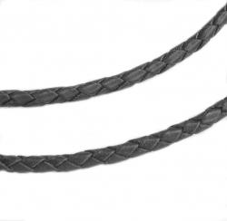 1 yard  Natural Braided Bolo  Leather BEAD STRINGING CORD 3mm Black