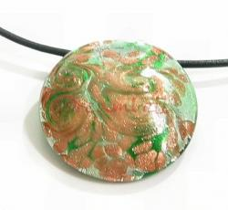 1x HUGE Encased Dichroic Lampwork ROUND FLOWER Glass PENDANT Bead 53mm