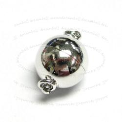 Rhodium Silver  Plated 1 strand Round Ball Magnetic Clasp 8mm