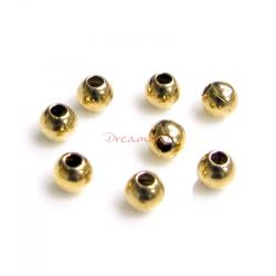 100pcs Brass 2mm Round Seamless Spacer Bead 0.9mm