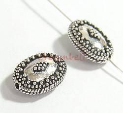 1x Bali Sterling Silver FLOWER DOTS ROPE Focal Bead 14.5mm