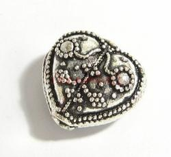 1x Bali Sterling Silver FLOWER HEART Focal Bead 18mm