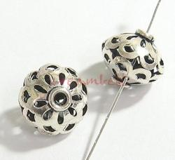 1x Bali Sterling Silver ROUND FLOWER Bicone Focal Bead 13mm