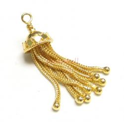 1x 14K Vermeil Gold Plated Sterling Silver Necklace Focal Dangle TASSEL Charm Bead 38mm