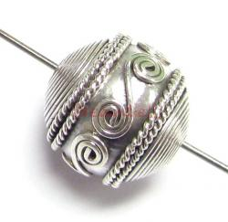 1x Bali Sterling Silver Round FLOWER Focal Bead 11.5mm