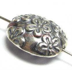 1x Bali Sterling Silver OVAL FLOWER Focal Bead 12.5mm x 10mm