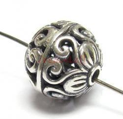 1x Bali Sterling Silver Round FLOWER Focal Bead 11mm