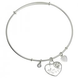 925 Sterling Silver Love Heart Dangle Charm Clear CZ Crystal Adjustable Cuff Bracelet Wristband Bangle