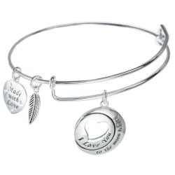 925 Sterling Silver Round I Love You to the Moon & Back Heart Leaf Dangle Charm Adjustable Wire Bangle Bracelet