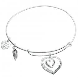 925 Sterling Silver Mother Daughter Forever Love Heart Leaf Dangle Charm Adjustable Wire Bangle Bracelet