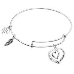 925 Sterling Silver Mother Son Forever Love Heart Leaf Dangle Charm Adjustable Wire Bangle Bracelet