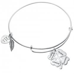 925 Sterling Silver 4 Leaf Clover Heart Friends Forever Today Tomorrow Always Dangle Charm Adjustable Wire Bangle Bracelet