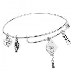 925 Sterling Silver Graduation Hat 2017 Made with Love Heart Feather Dangle Charm Adjustable Wire Bangle Bracelet