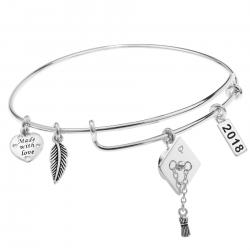 925 Sterling Silver Graduation Hat 2018 Made with Love Heart Feather Dangle Charm Adjustable Wire Bangle Bracelet