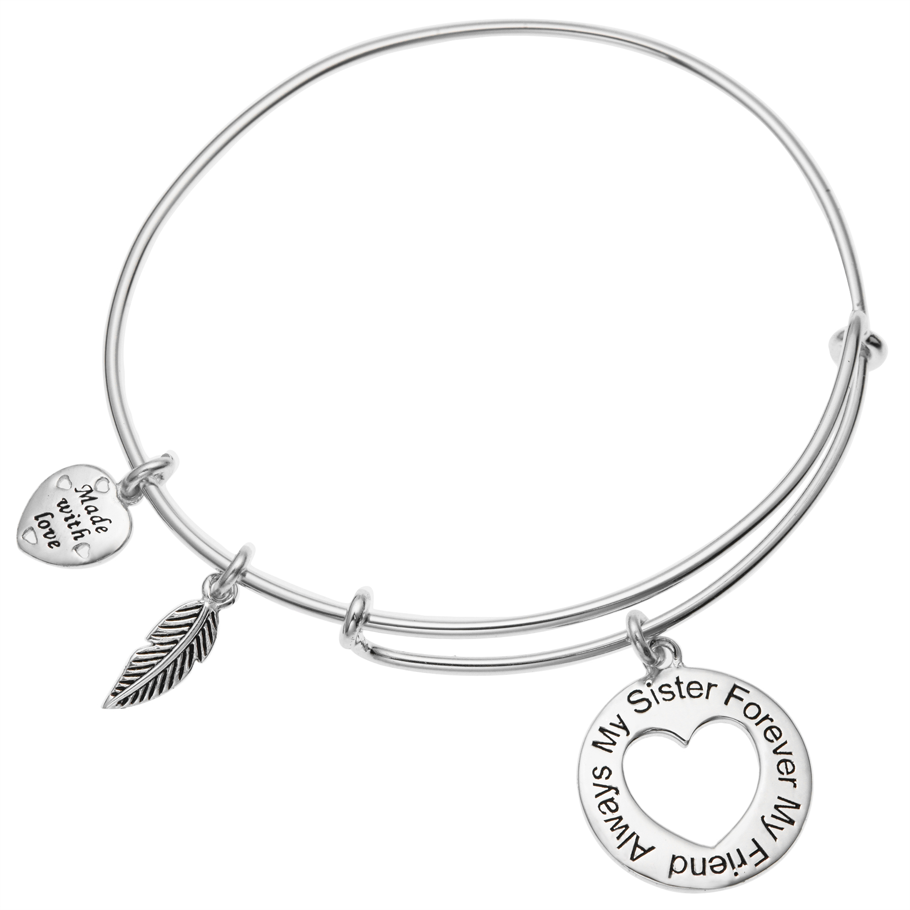 "925 Sterling Silver ""Always My Sister Forever My Friend\"" Love Heart Feather Dangle Charm Adjustable Wire Bangle Bracelet"