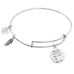 "925 Sterling Silver ""She Believed She Could so She Did"" Heart Feather Dangle Charm Adjustable Wire Bangle Bracelet"
