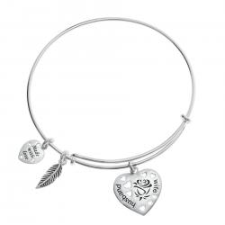 925 Sterling Silver Rose Husband & Wife Heart Feather Dangle Charm Adjustable Wire Bangle Bracelet