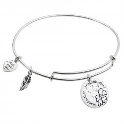 925 Sterling Silver Flower Grandmother & Granddaughter Heart Feather Dangle Charm Adjustable Wire Bangle Bracelet