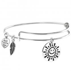 925 Sterling Silver My Sunshine Smiley Dangle Charm Adjustable Wire Bangle Bracelet