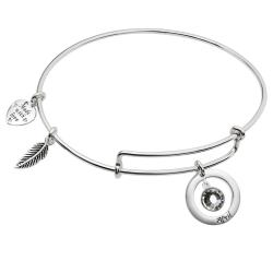 925 Sterling Silver Birthstone April Clear Crystal Charm Adjustable Wire Bangle Bracelet