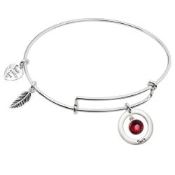 925 Sterling Silver Birthstone July Red Crystal Charm Adjustable Wire Bangle Bracelet