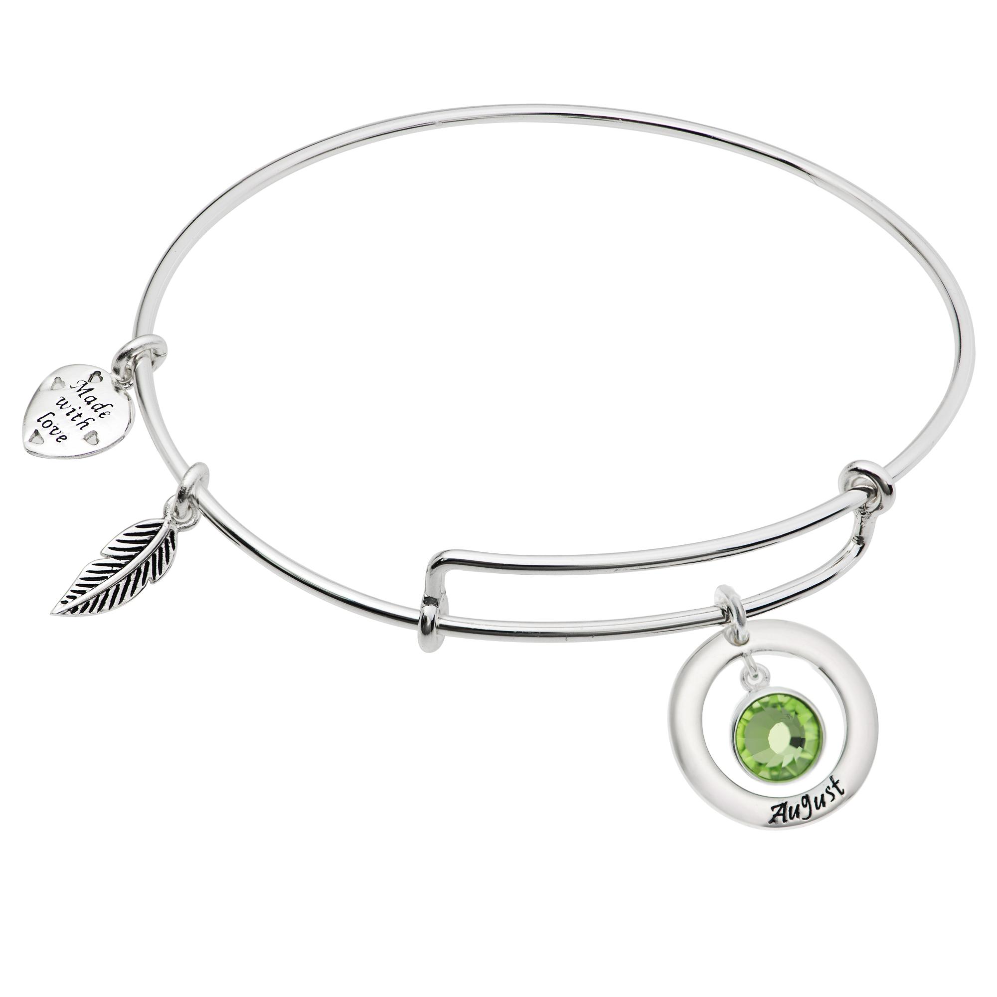 925 Sterling Silver Birthstone August Green Crystal Charm Adjustable Wire Bangle Bracelet