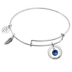 925 Sterling Silver Birthstone September Blue Crystal Charm Adjustable Wire Bangle Bracelet
