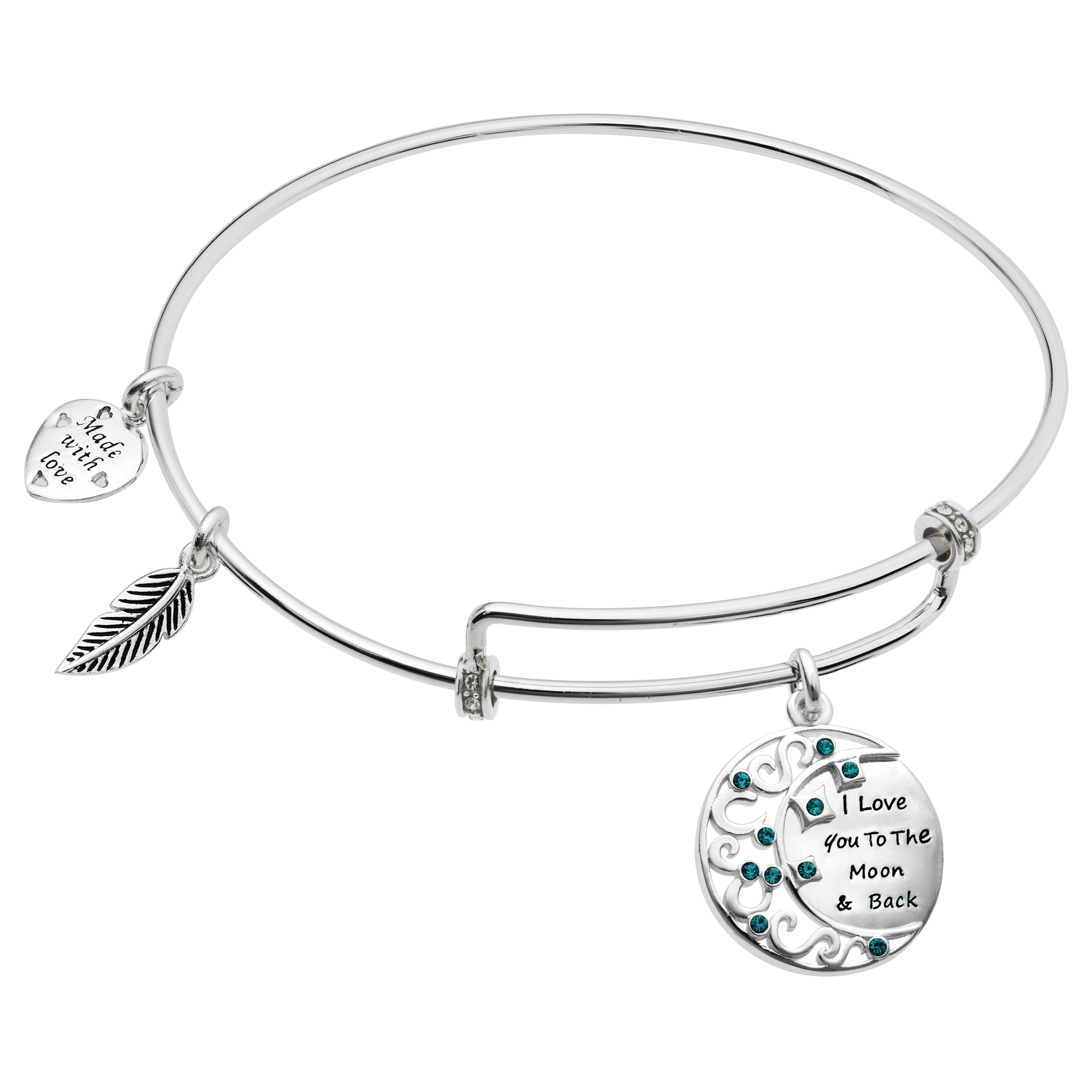 Rhodium on 925 Sterling Silver I Love You to the Moon and Back CZ Charm Adjustable Wire Bangle Bracelet