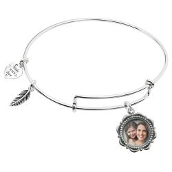 925 Sterling Silver Personalized Photo Dangle Charm Adjustable Wire Bangle Bracelet