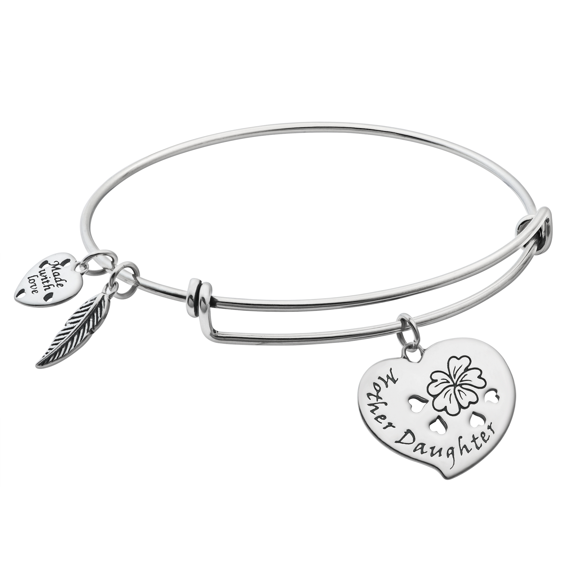 925 Sterling Silver Mother & Daughter Heart Dangle Charm Adjustable Wire Bangle Bracelet