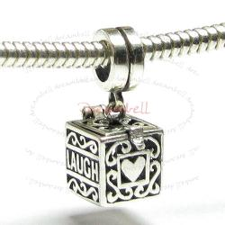 Sterling Silver Heart Love Laugh Live Locket Dangle Bead for European Charm Bracelets