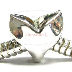 Sterling silver Whale Tail Bead for European Charm Bracelets